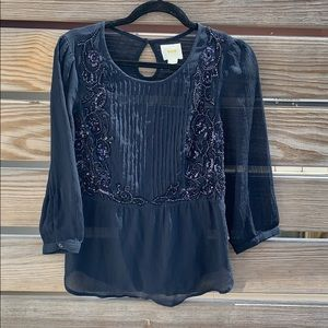 MAEVE Navy Blue Sheer Top Size 4
